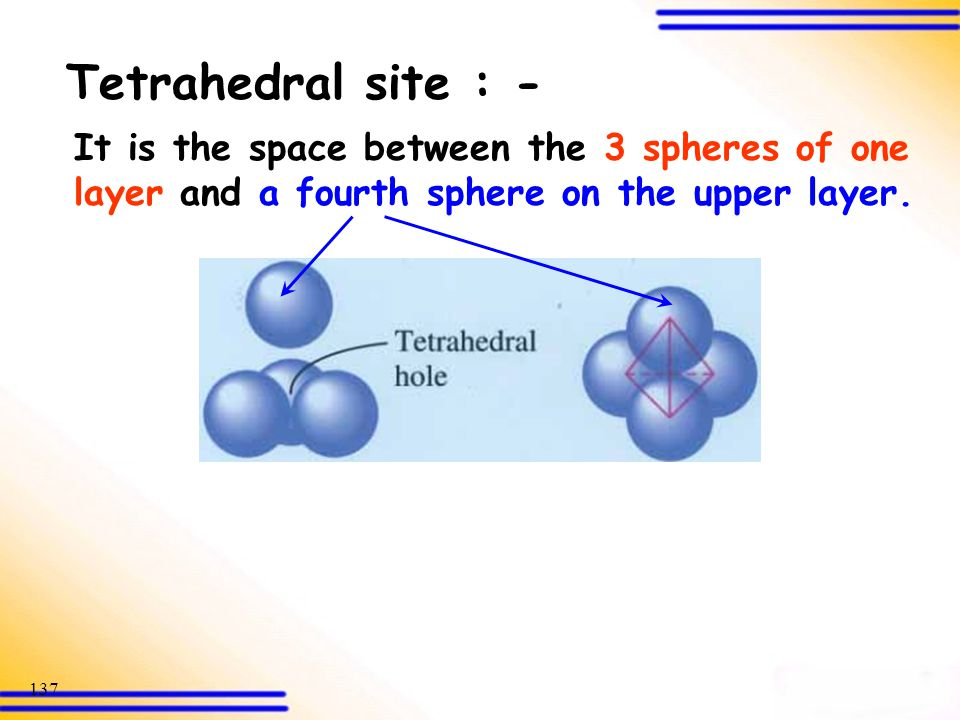 Tetrahedral site : - It is the space between the 3 spheres of one layer and a fourth sphere on the upper layer.