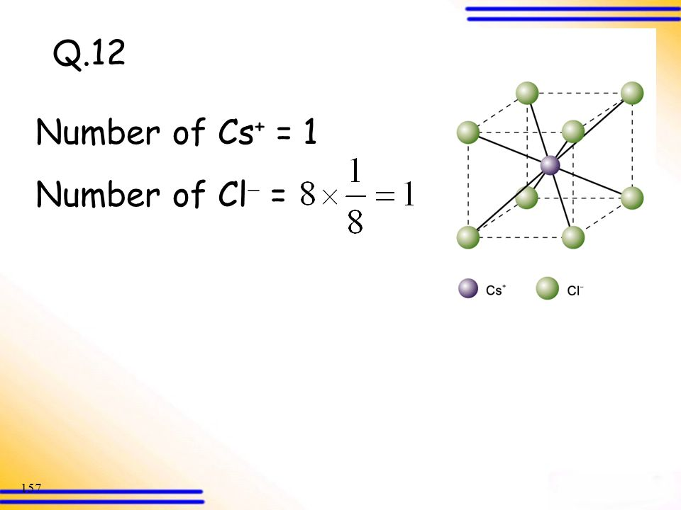 Q.12 Number of Cs+ = 1 Number of Cl =