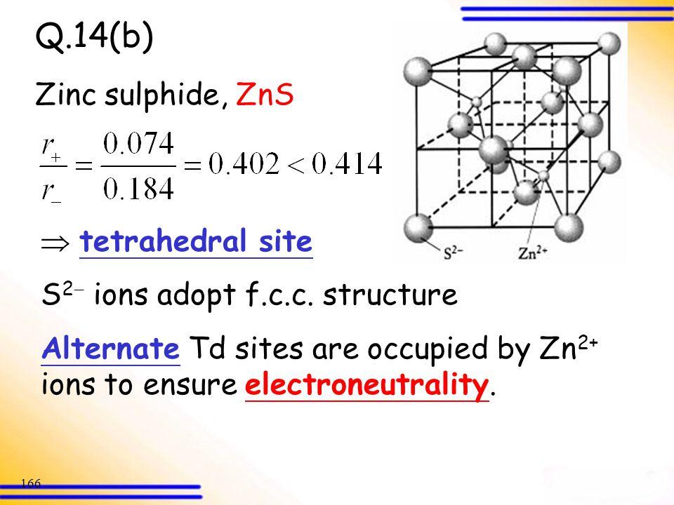 Q.14(b) Zinc sulphide, ZnS  tetrahedral site