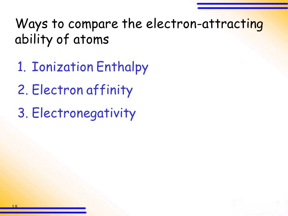 Ways to compare the electron-attracting ability of atoms
