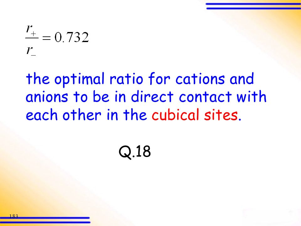 the optimal ratio for cations and anions to be in direct contact with each other in the cubical sites.