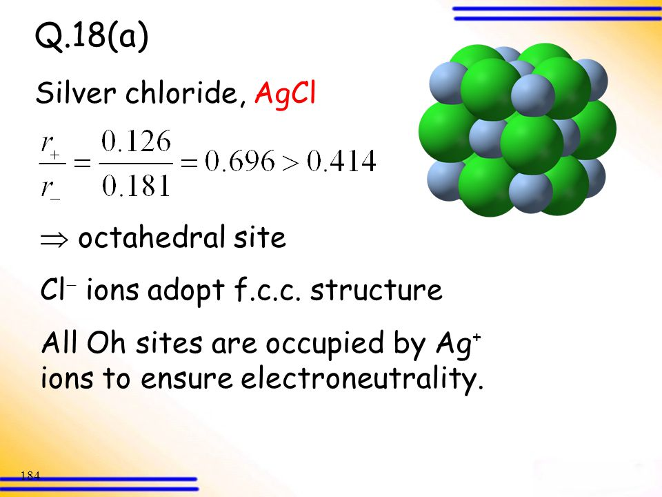 Q.18(a) Silver chloride, AgCl  octahedral site