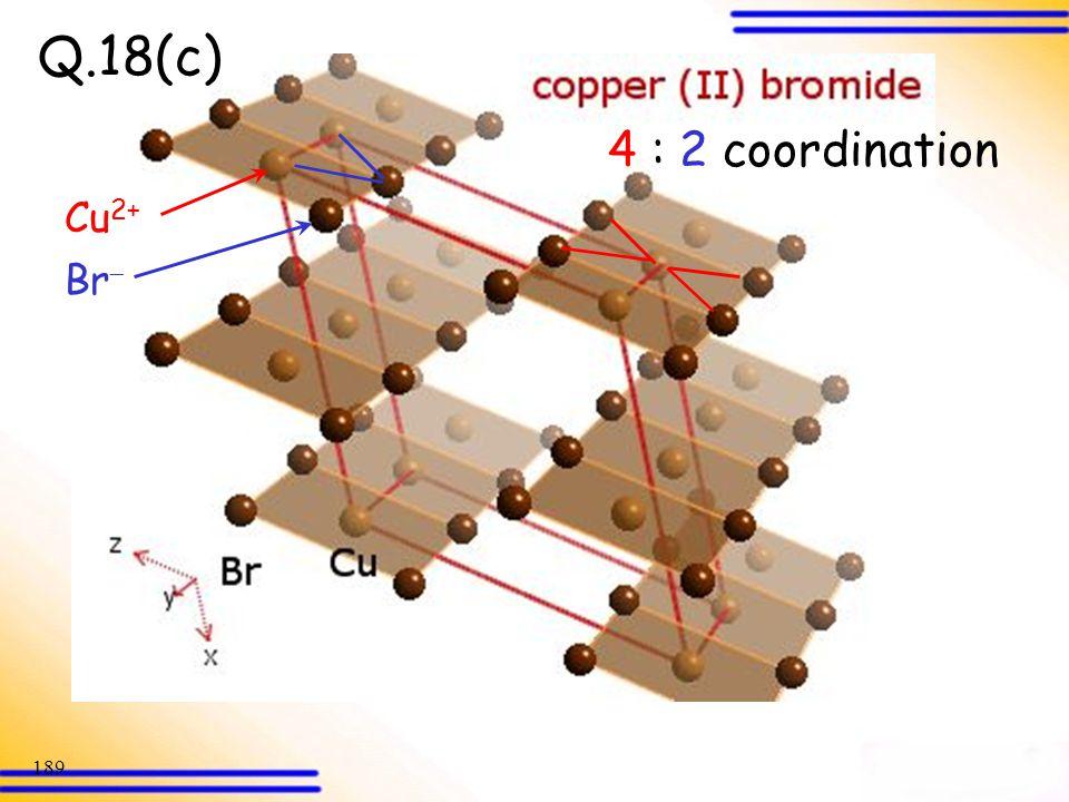 Q.18(c) 4 : 2 coordination Cu2+ Br