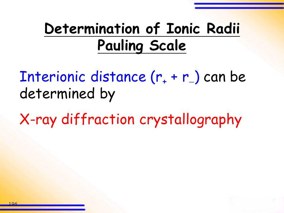 Determination of Ionic Radii Pauling Scale