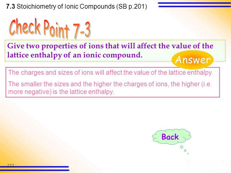 7.3 Stoichiometry of Ionic Compounds (SB p.201)