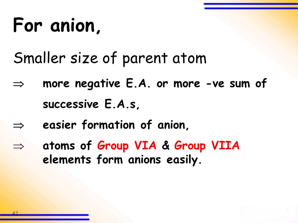 For anion, Smaller size of parent atom