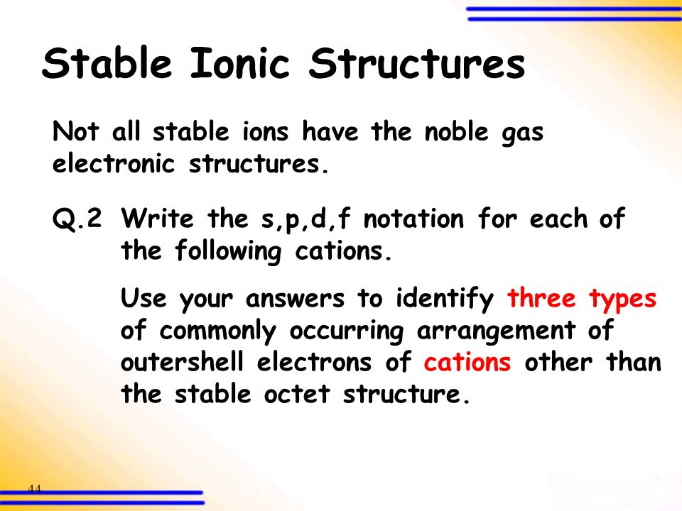 Stable Ionic Structures