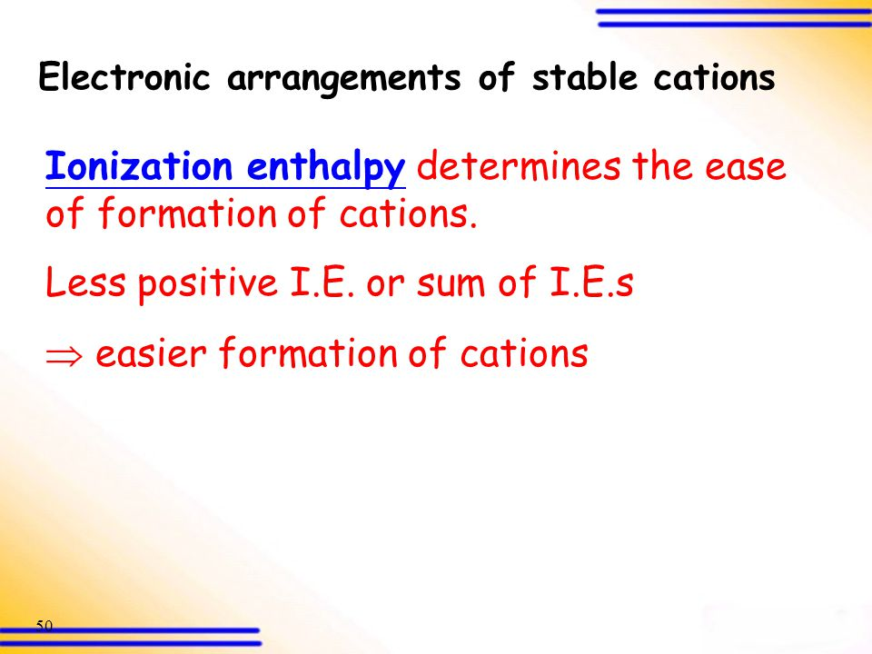 Electronic arrangements of stable cations