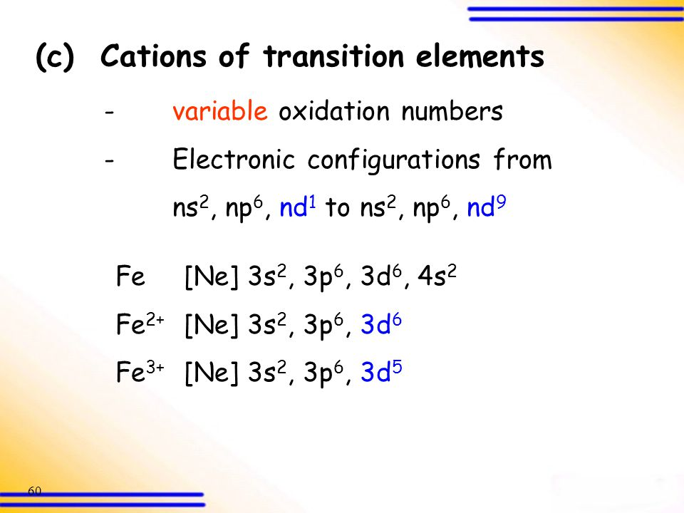 (c) Cations of transition elements