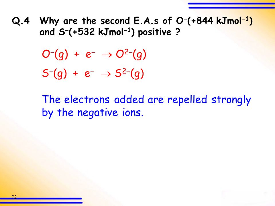 The electrons added are repelled strongly by the negative ions.