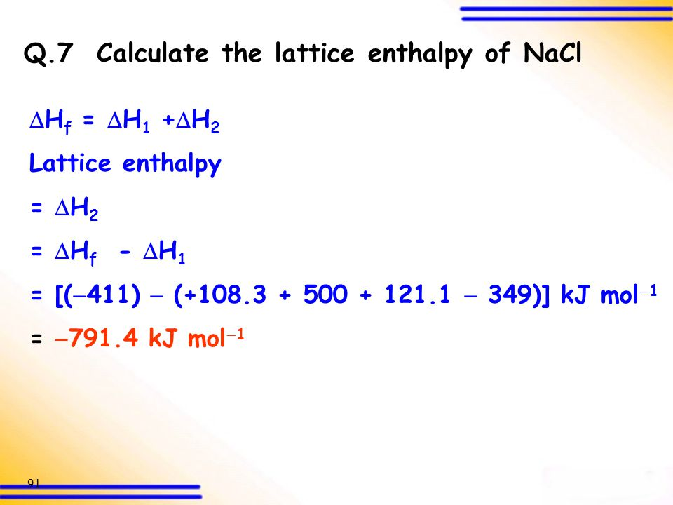 Q.7 Calculate the lattice enthalpy of NaCl