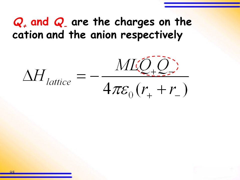 Q+ and Q- are the charges on the cation and the anion respectively