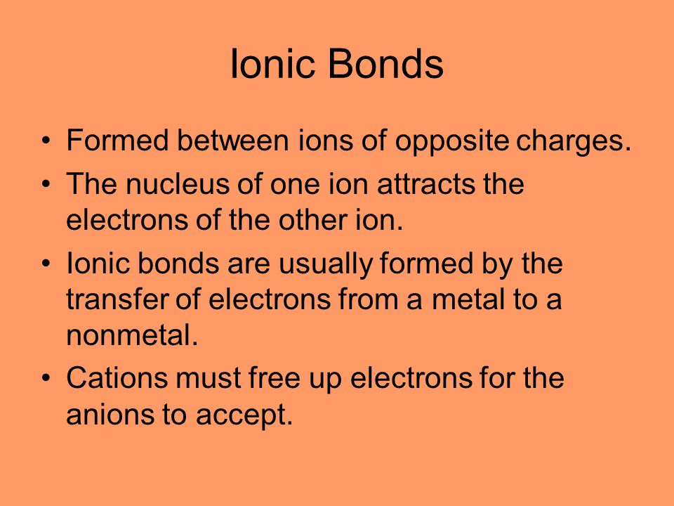 Ionic Bonds Formed between ions of opposite charges.