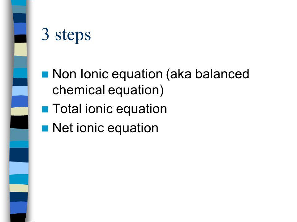 3 steps Non Ionic equation (aka balanced chemical equation)