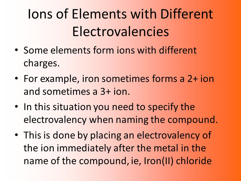 Ions of Elements with Different Electrovalencies
