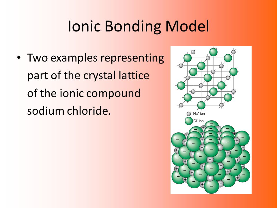 Ionic Bonding Model Two examples representing