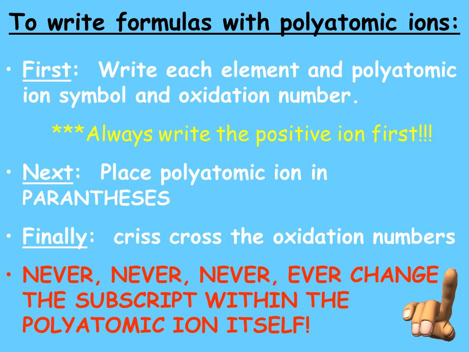 To write formulas with polyatomic ions: