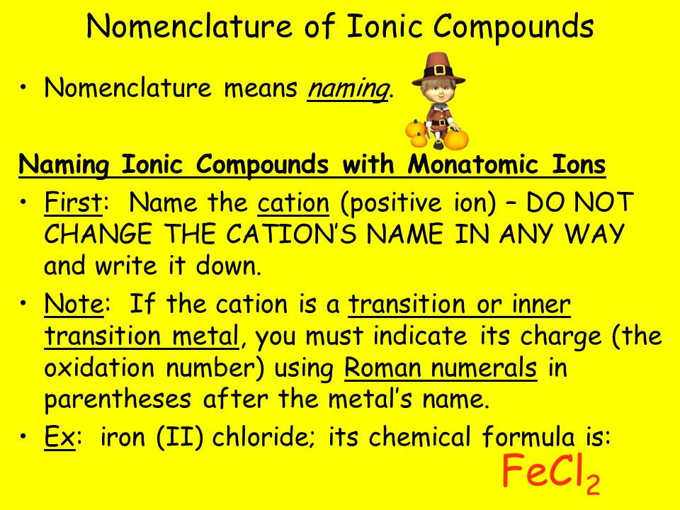Nomenclature of Ionic Compounds