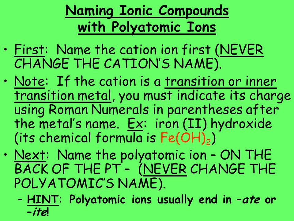 Naming Ionic Compounds with Polyatomic Ions