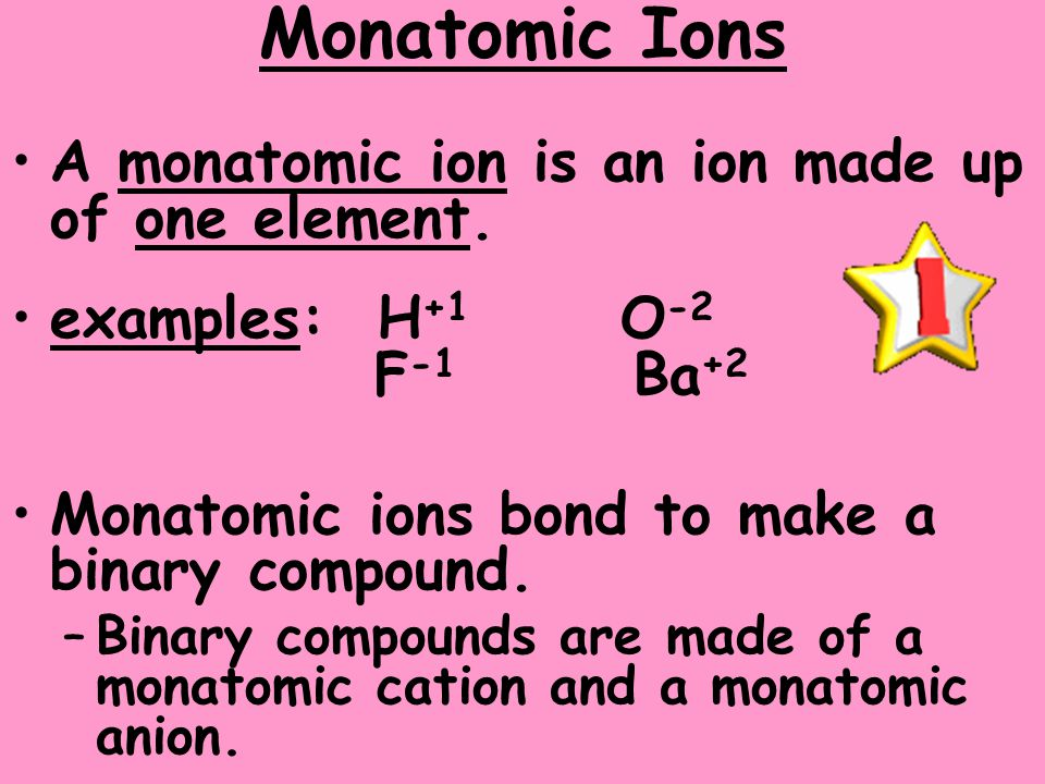 Monatomic Ions A monatomic ion is an ion made up of one element.