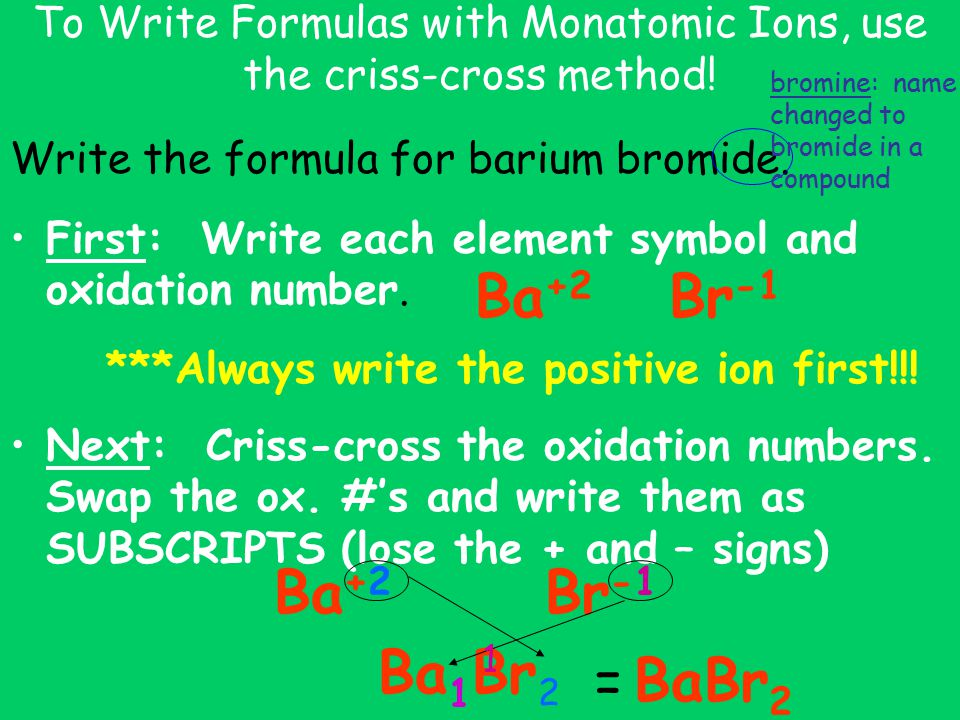 example writing formulas criss cross method