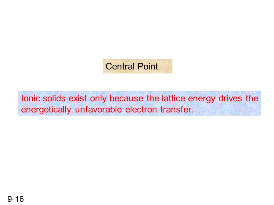 Central Point Ionic solids exist only because the lattice energy drives the.