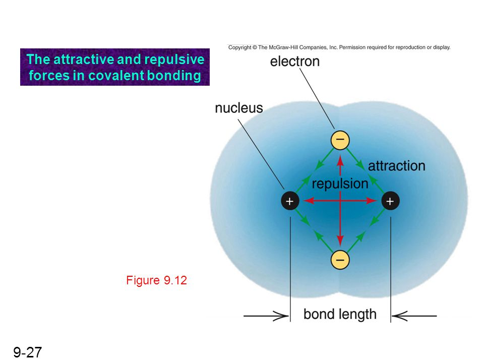 The attractive and repulsive forces in covalent bonding