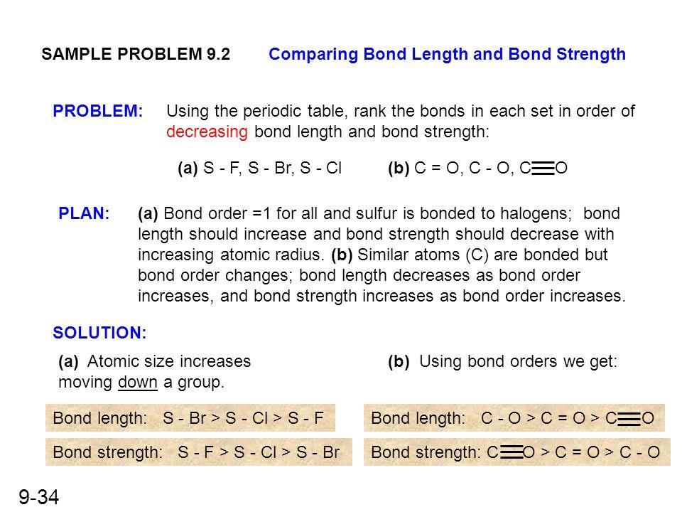 SAMPLE PROBLEM 9.2 Comparing Bond Length and Bond Strength. PROBLEM: