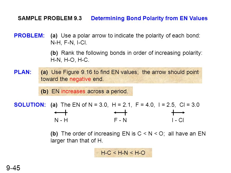 SAMPLE PROBLEM 9.3 Determining Bond Polarity from EN Values. PROBLEM: