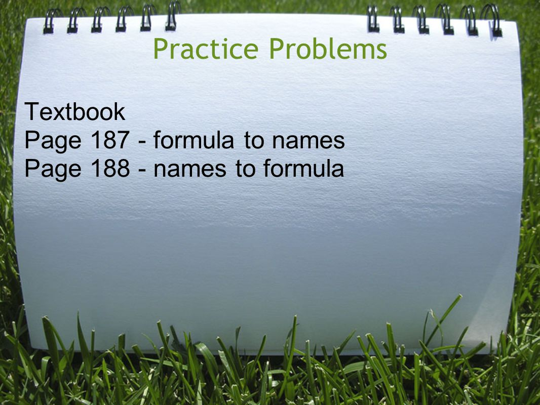 Practice Problems Textbook Page 187 - formula to names