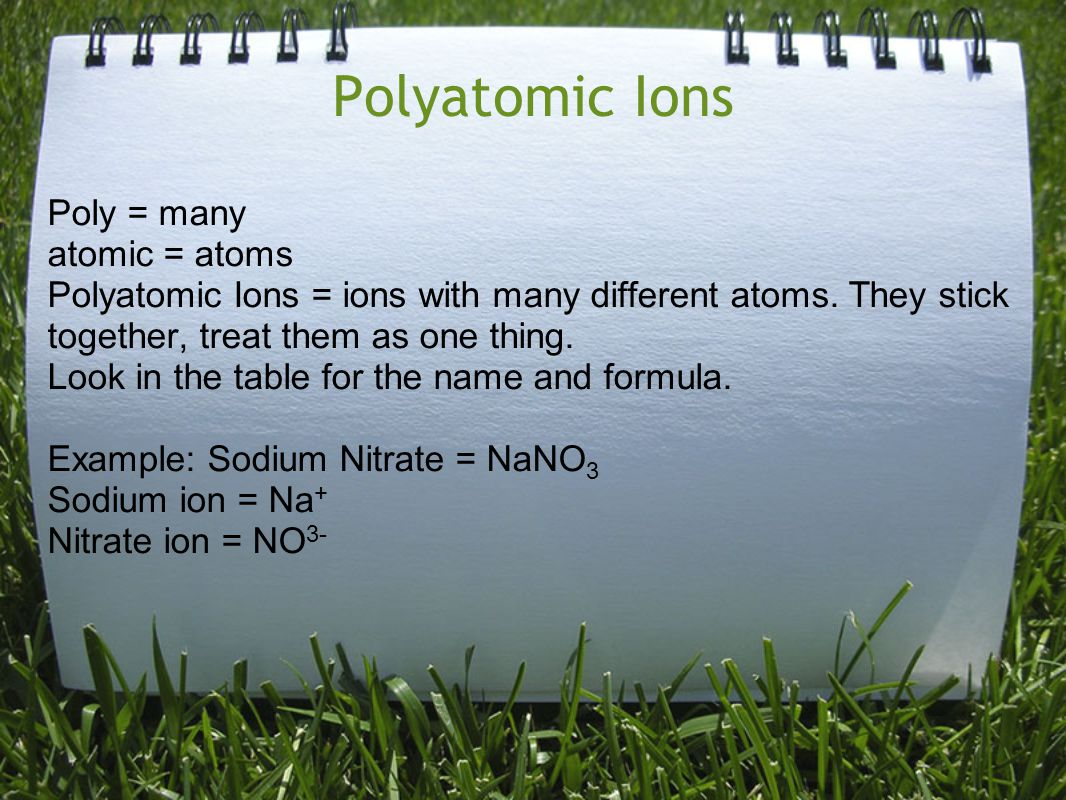 Polyatomic Ions Poly = many atomic = atoms