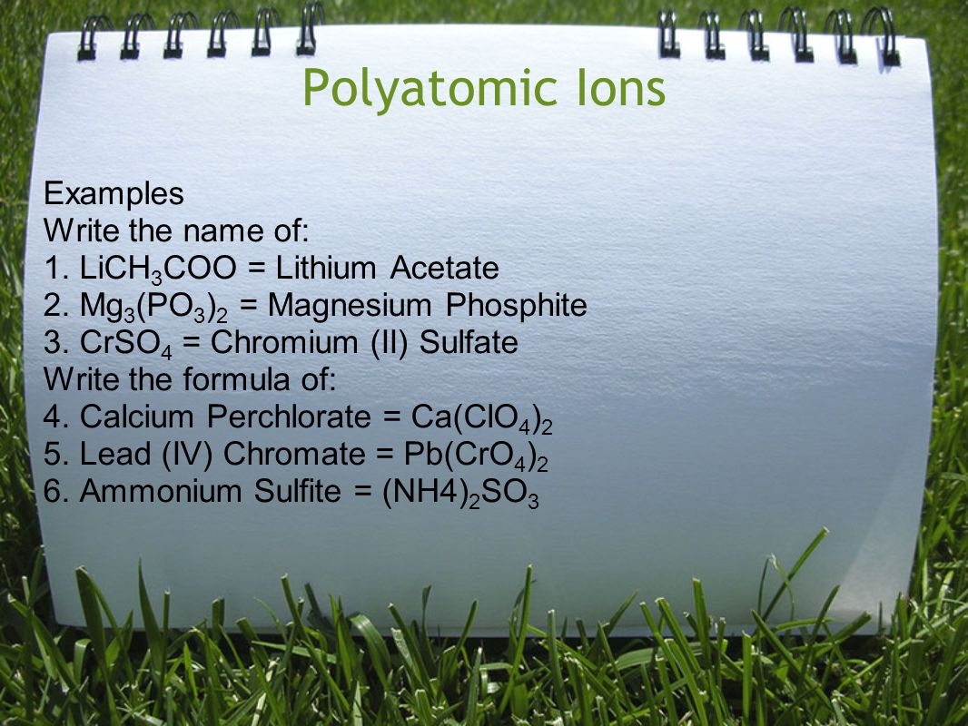 Polyatomic Ions Examples Write the name of: