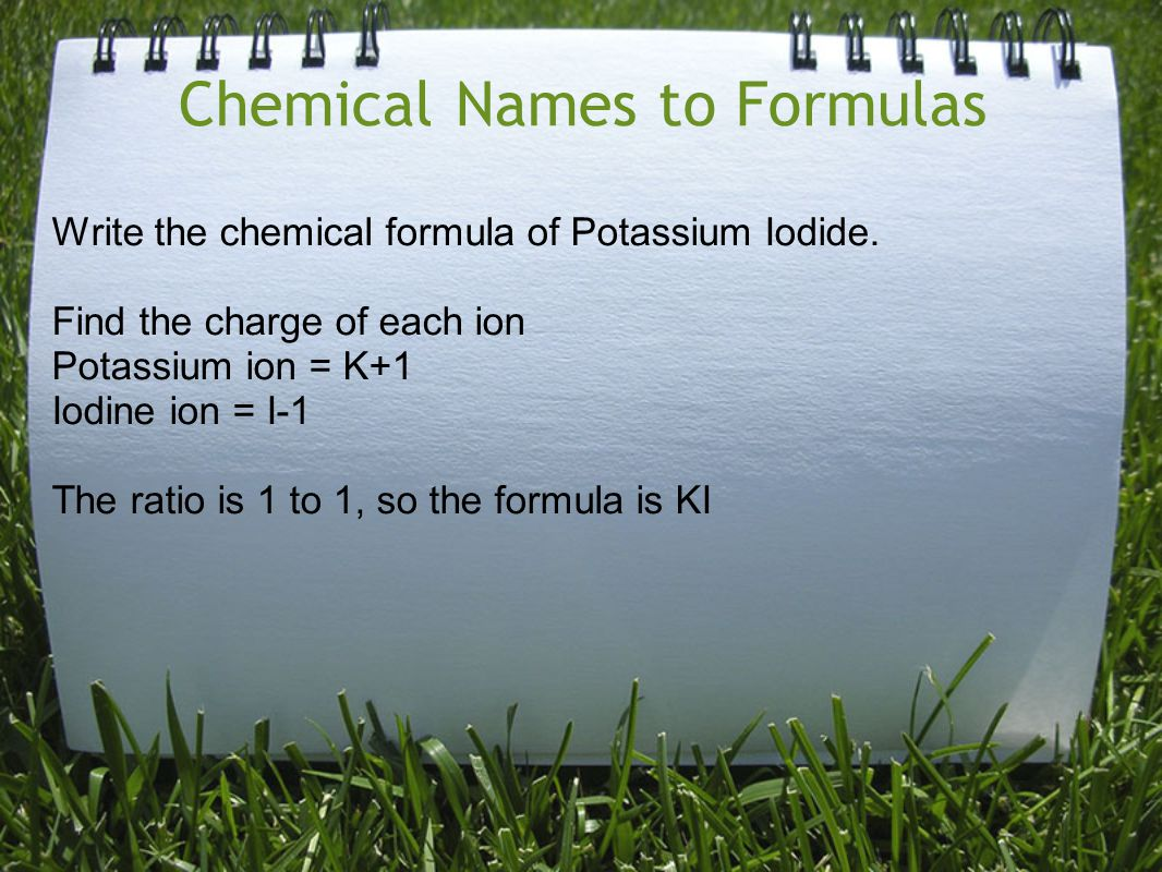Chemical Names to Formulas