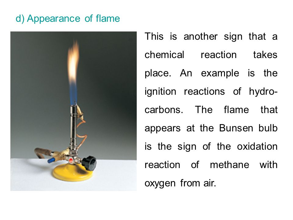 d) Appearance of flame