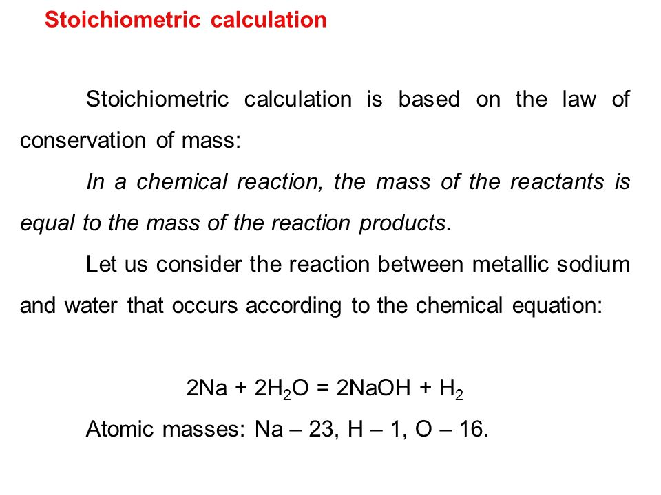 Stoichiometric calculation