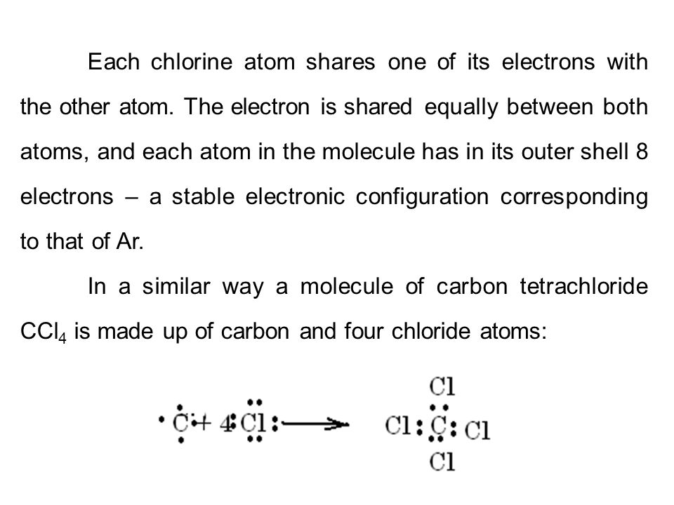 Each chlorine atom shares one of its electrons with the other atom