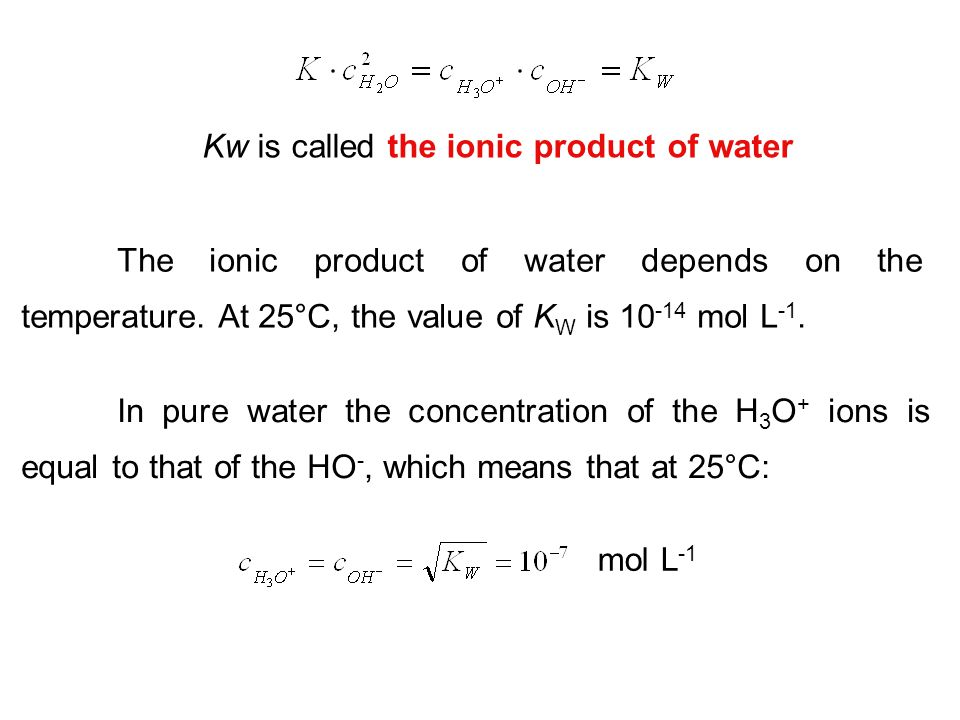 Kw is called the ionic product of water