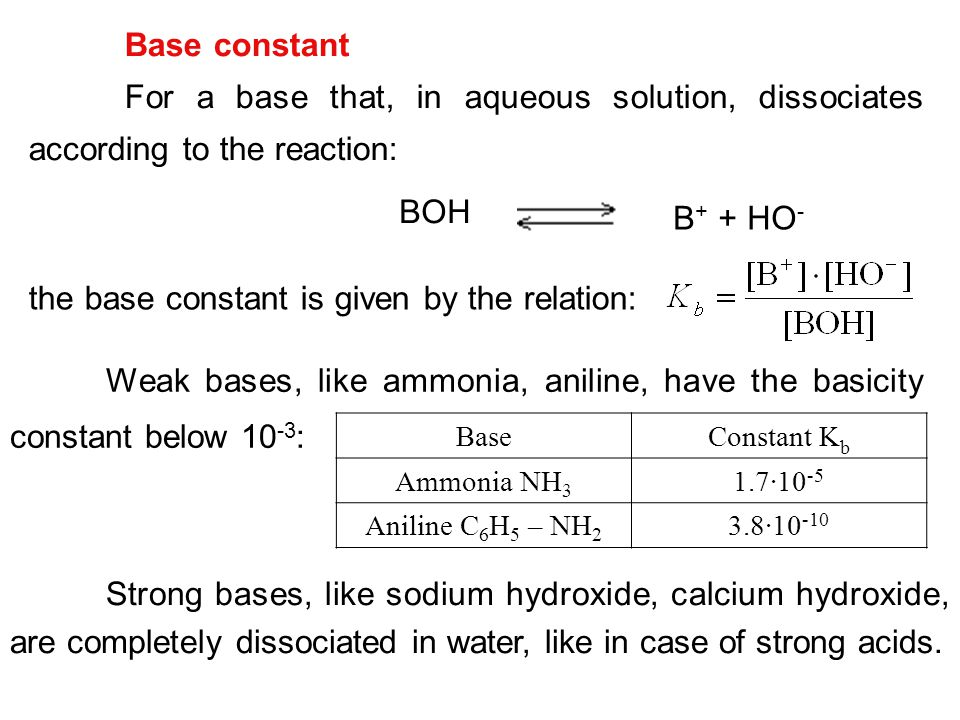 the base constant is given by the relation: