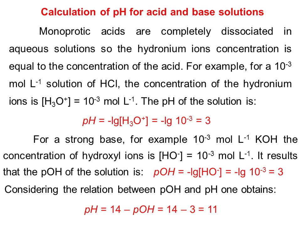 Calculation of pH for acid and base solutions