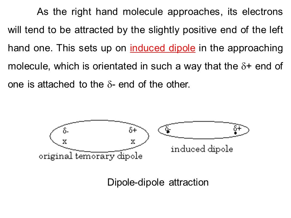 As the right hand molecule approaches, its electrons will tend to be attracted by the slightly positive end of the left hand one. This sets up on induced dipole in the approaching molecule, which is orientated in such a way that the + end of one is attached to the - end of the other.