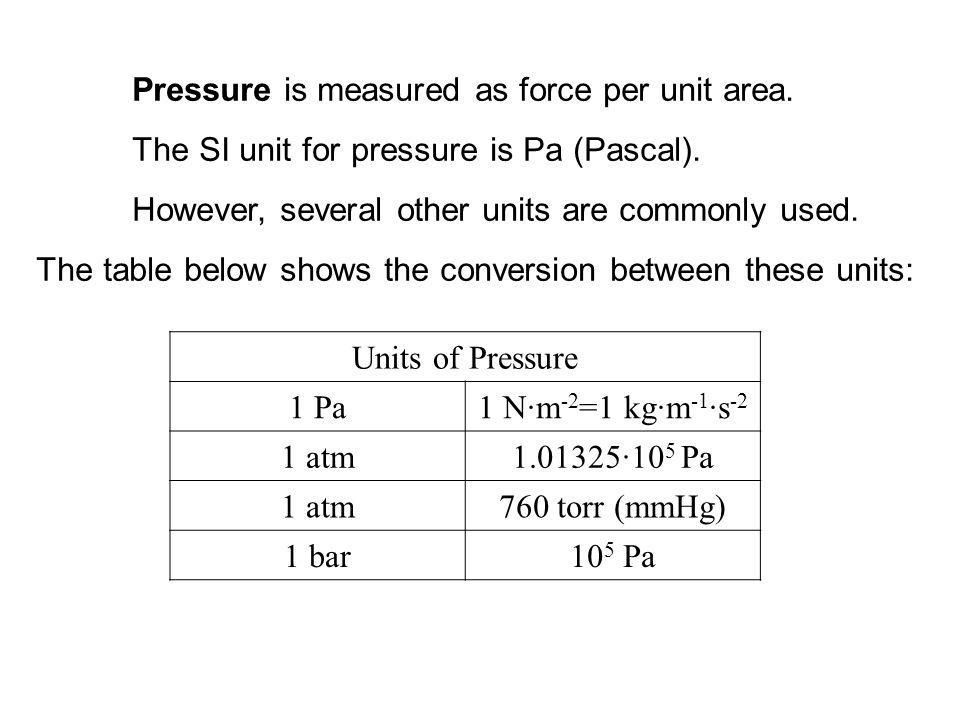 Pressure is measured as force per unit area.