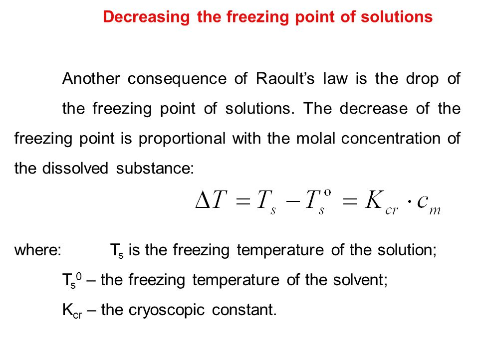 Decreasing the freezing point of solutions