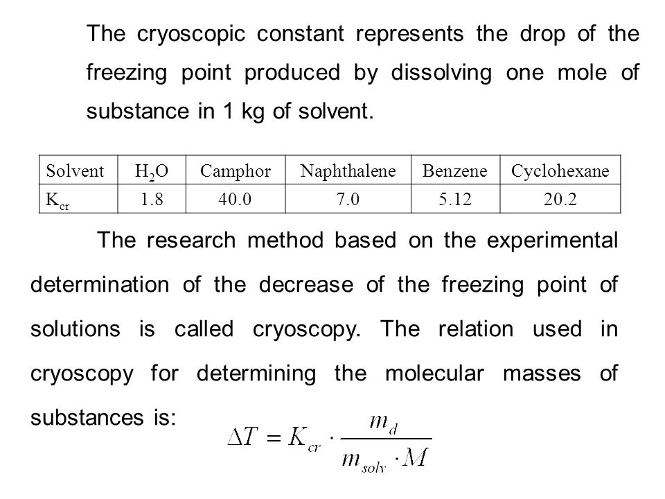 The cryoscopic constant represents the drop of the
