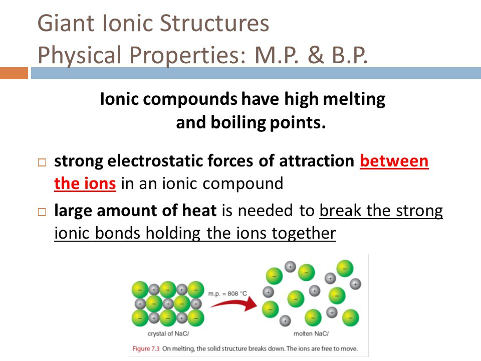 Giant Ionic Structures Physical Properties: M.P. & B.P.