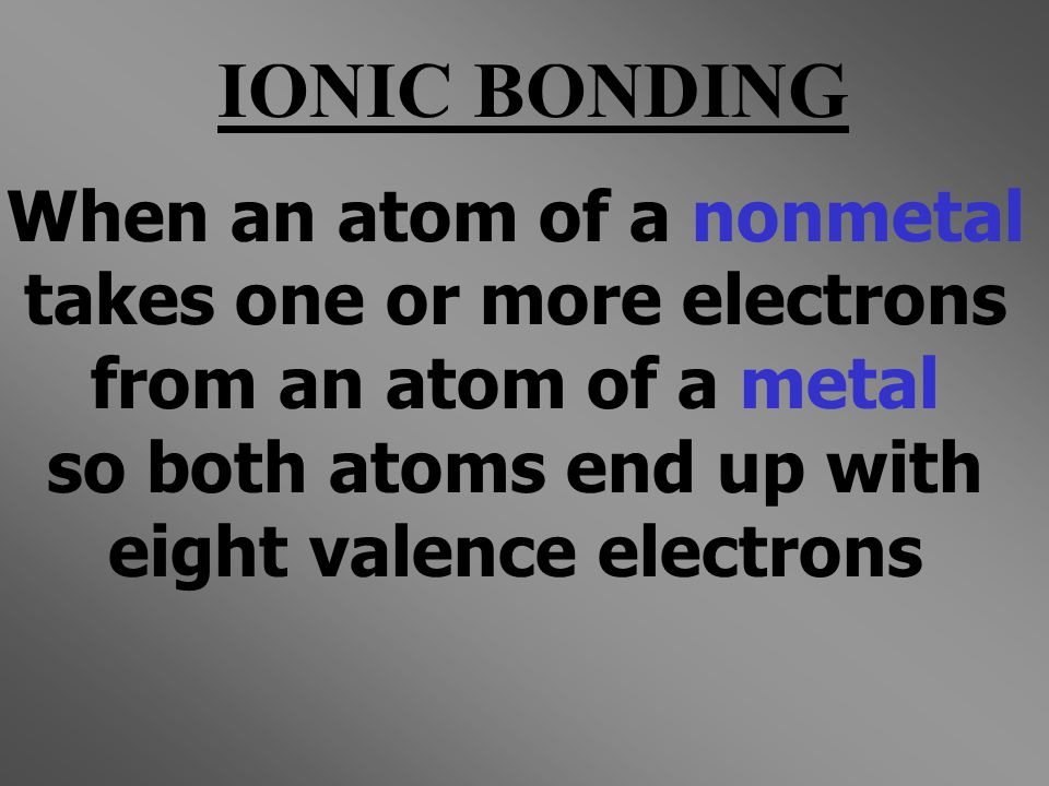 IONIC BONDING When an atom of a nonmetal takes one or more electrons