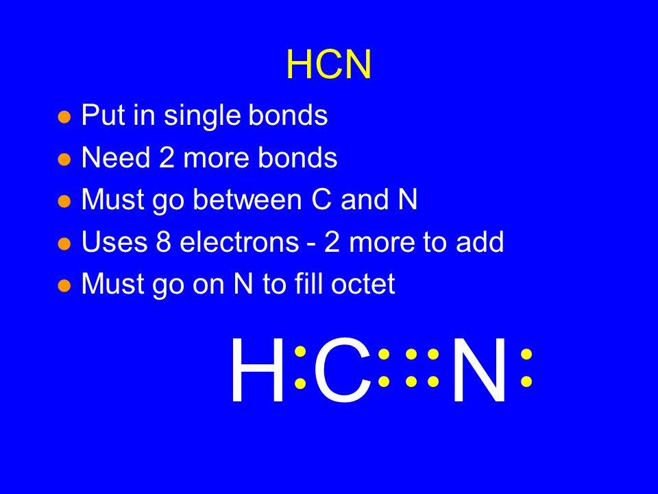 H C N HCN Put in single bonds Need 2 more bonds