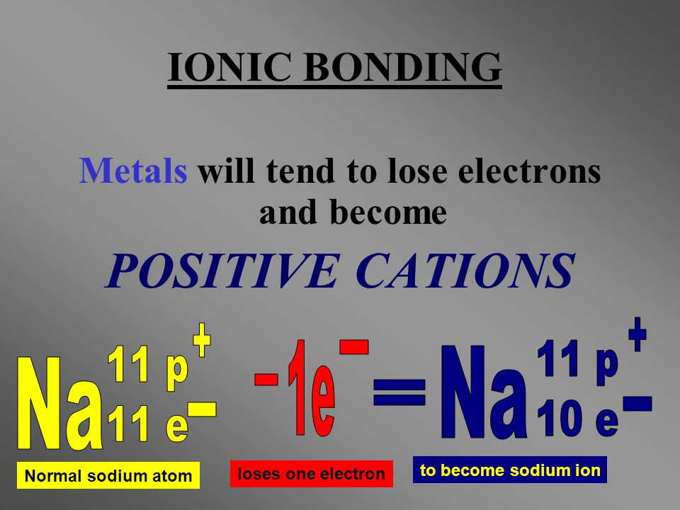 Metals will tend to lose electrons and become