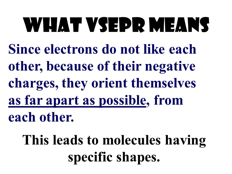 This leads to molecules having specific shapes.
