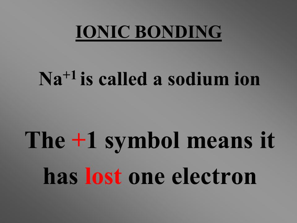 Na+1 is called a sodium ion