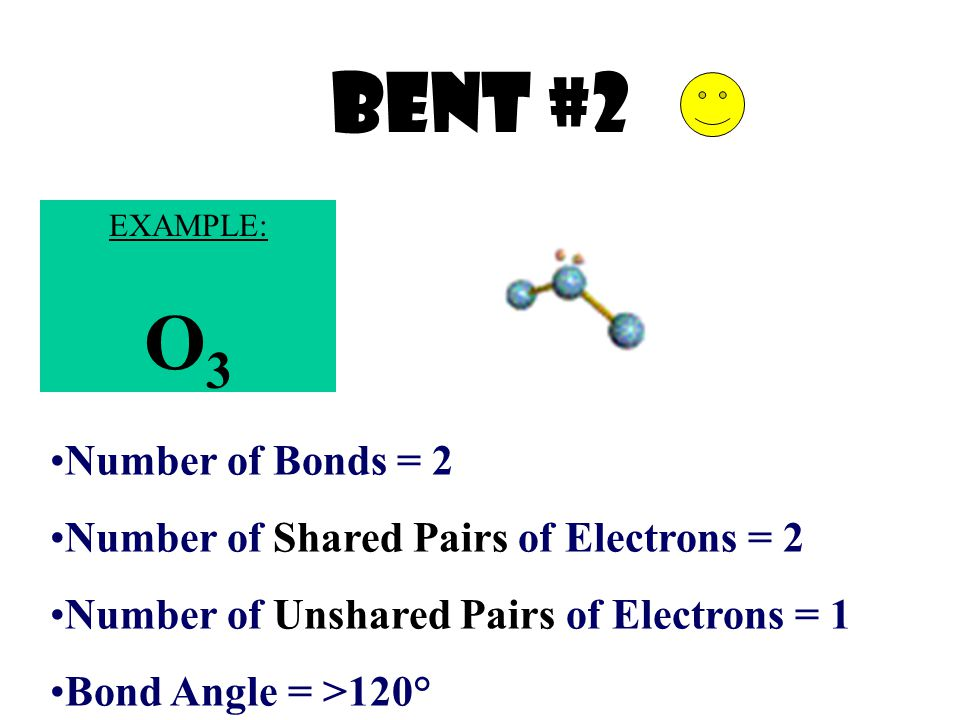 Bent #2 O3 Number of Bonds = 2 Number of Shared Pairs of Electrons = 2
